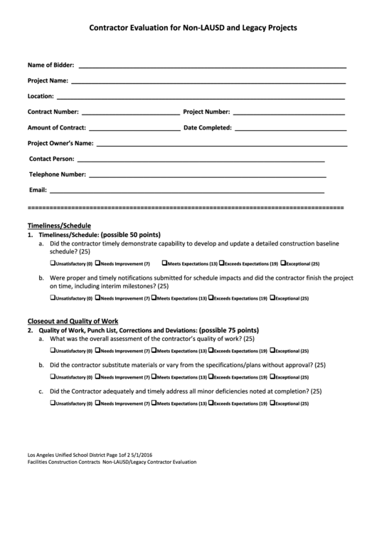 Non-lausd And Legacy Projects Contractor Evaluation Form