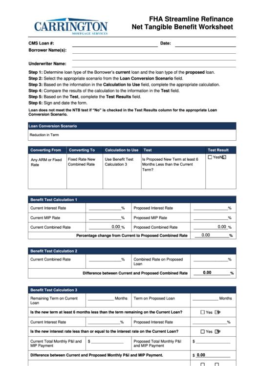 Fillable Fha Streamline Refinance Net Tangible Benefit Worksheet Printable pdf