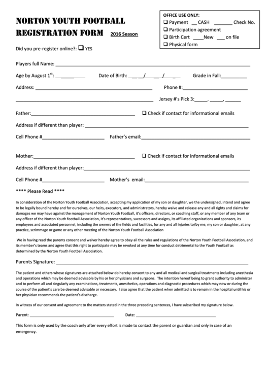 Norton Youth Football Registration Form