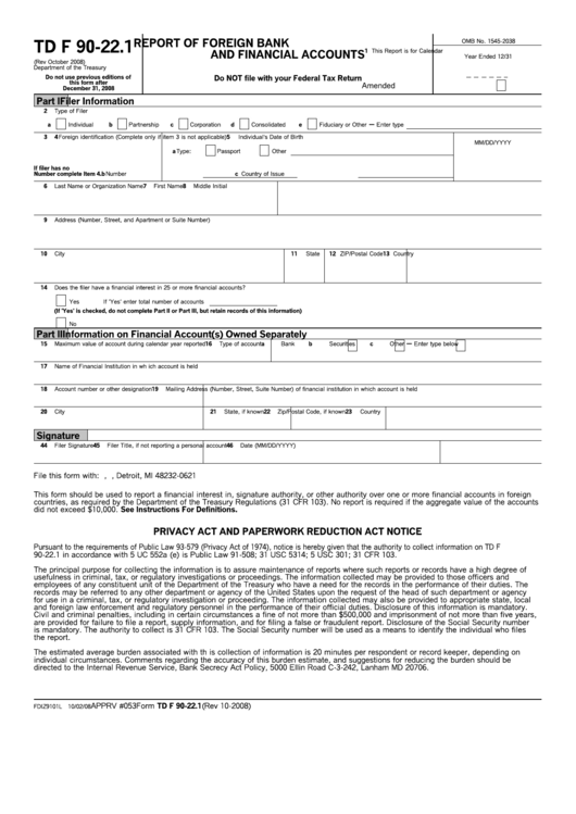 Form Td F 90-22.1 - Report Of Foreign Bank And Financial Accounts