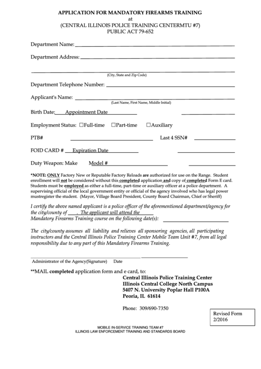 Fillable Pplication For Mandatory Firearms Training Form ...