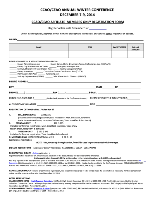 Fillable Annual Winter Conference Registration Form Printable pdf