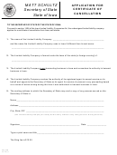 Application For Certificate Of Cancellation Form - 2011