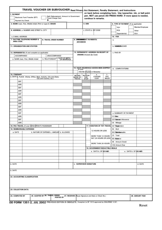 Travel Voucher Or Subvoucher Dd Form 1351 2