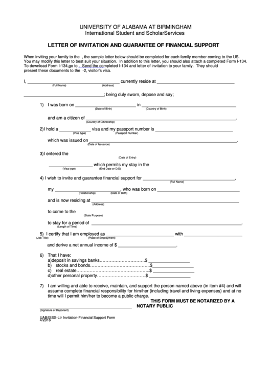 Letter Of Invitation And Guarantee Of Financial Support Form
