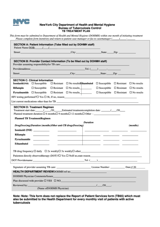 Tuberculosis Treatment Plan Form