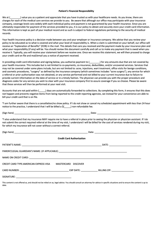 Patient Financial Responsibility Form