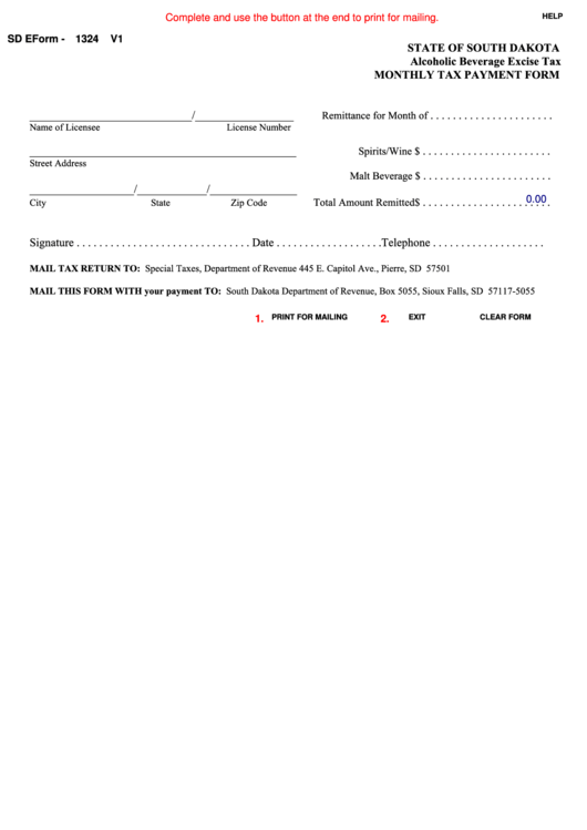 Fillable Sd Eform 1324 - Monthly Tax Payment Form Printable pdf