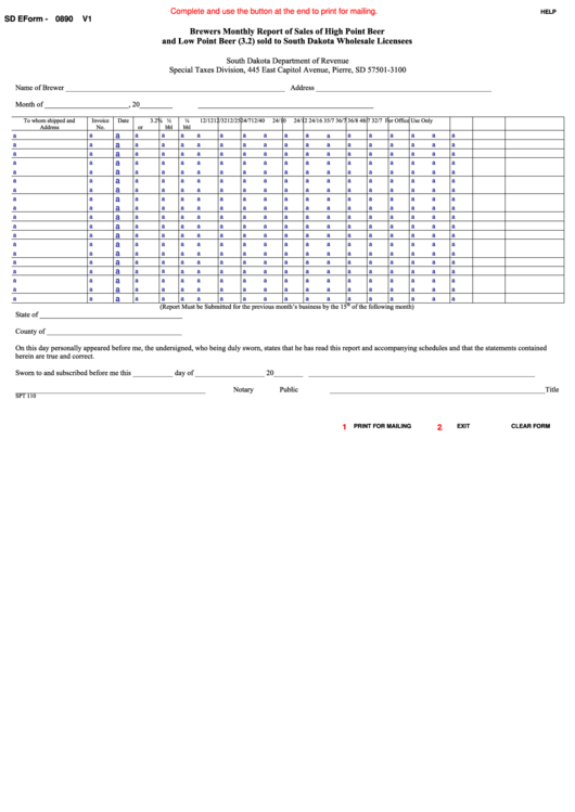 Fillable Sd Eform 0890 - Brewers Monthly Report Of Sales Of High Point Beer And Low Point Beer (3.2) Sold To South Dakota Wholesale Licensees Printable pdf