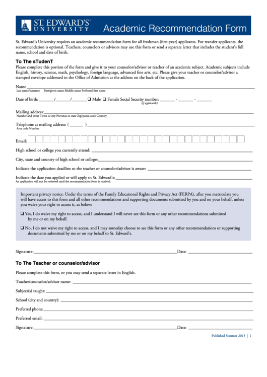 Academic Recommendation Form