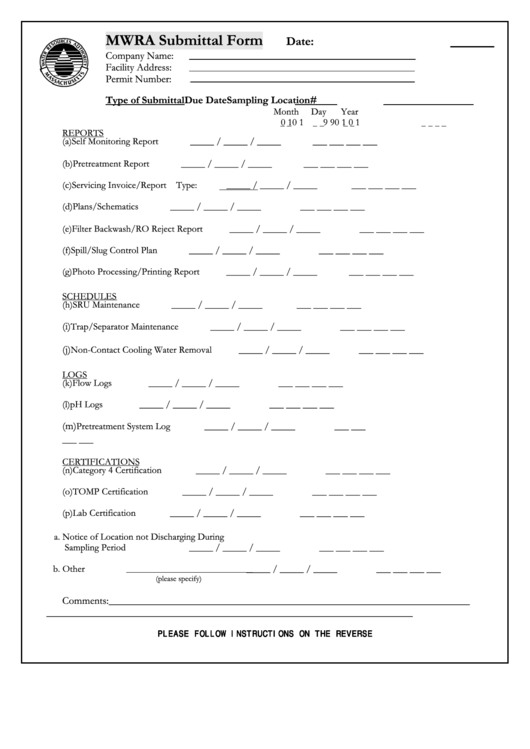 Mwra Submittal Form