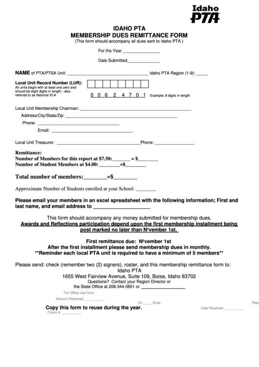 Idaho Pta Membership Dues Remittance Form printable pdf download