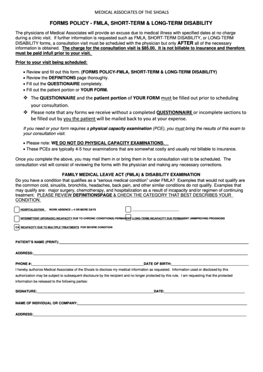 Forms Policy Fmla Short Term Amp Long Term Disability