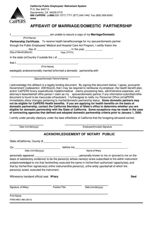affidavit of marriage  domestic partnership form printable