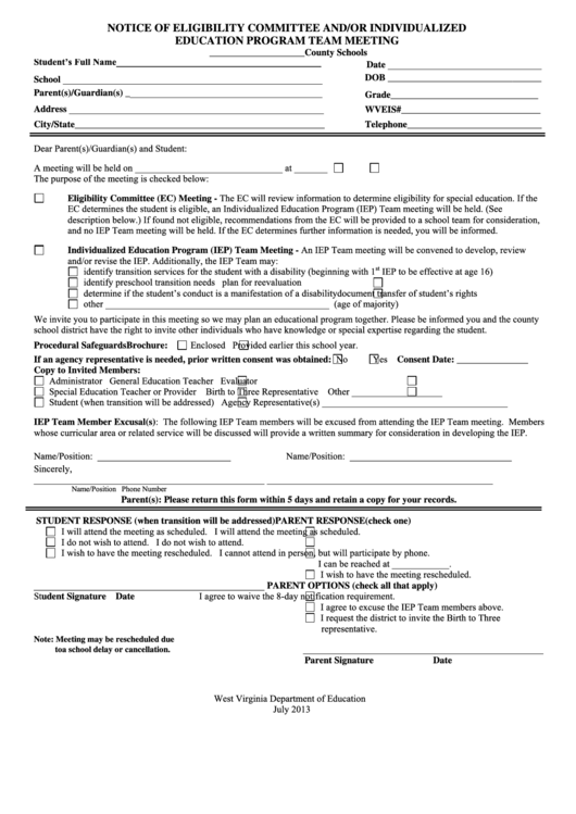 Fillable Notice Of Eligibility Committee And/or Individualized Education Program Team Meeting Form Printable pdf