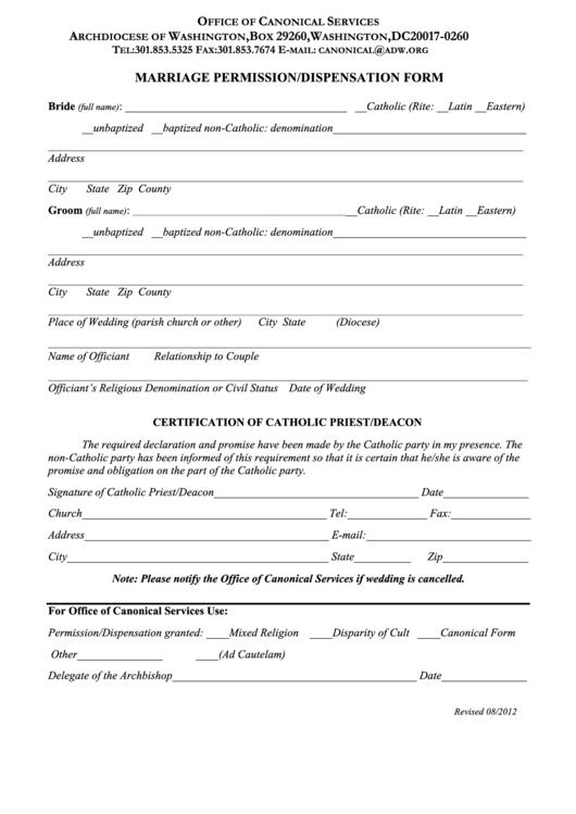Marriage Permission/dispensation Form