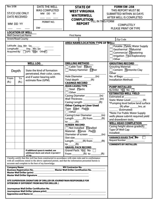 Form Sw-258 - Water Well Completion Report - West Virginia