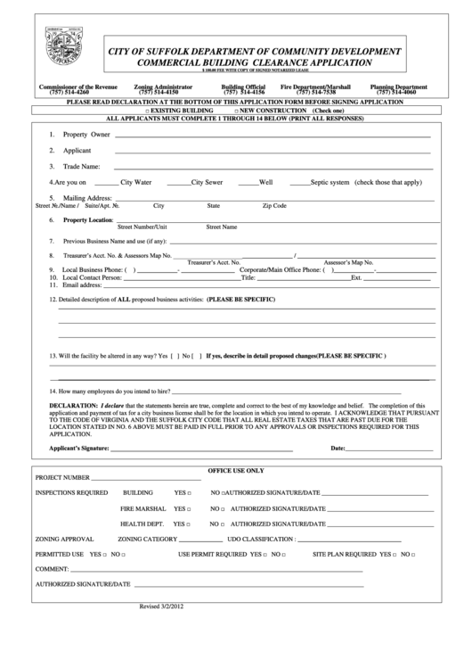 Commercial Building Clearance Application Form - City Of Suffolk Department Of Community Development