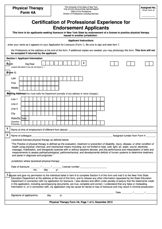 Physical Therapy Form 4a Certification Of Professional Experience