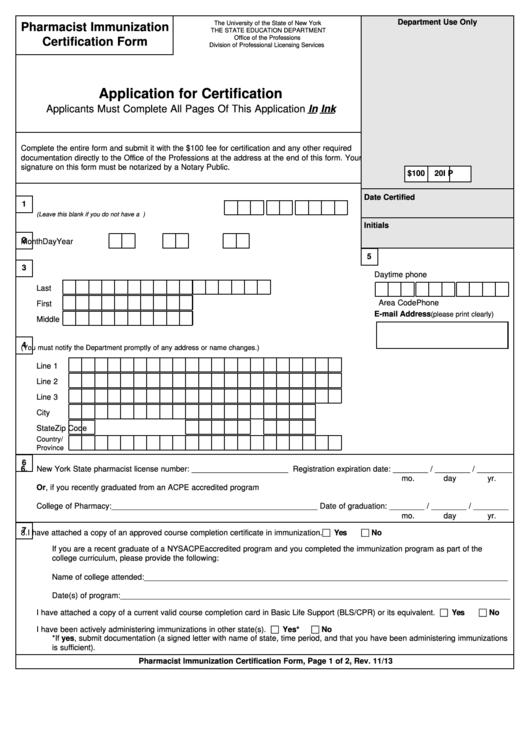 pharmacist immunization certification form - application for certification