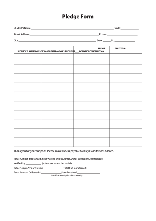 sample pledge form printable pdf download