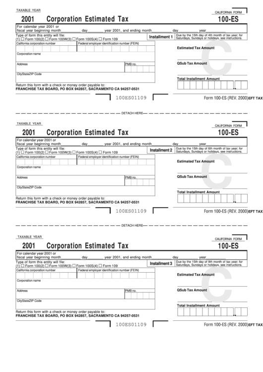 california estimated tax form 100-es