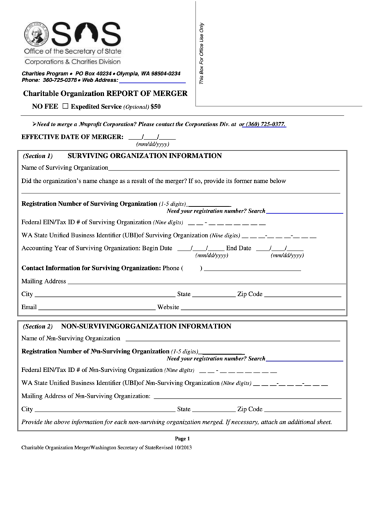 Charitable Organization Report Of Merger Form