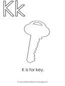 K Is For Key Letter K Template
