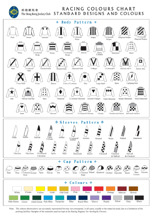 Racing Colors Chart/body, Sleeves, Cap Pattern Template