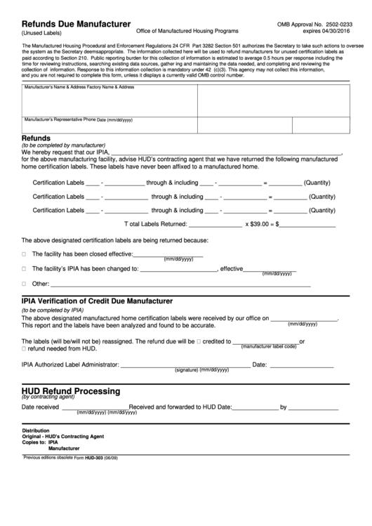 Form Hud-303 - Refunds Due Manufacturer - U.s. Department ...