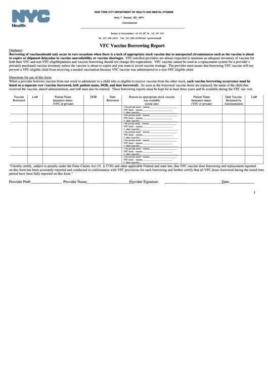 Vfc Vaccine Borrowing Report Form - New York City Department Of Health And Mental Hygiene
