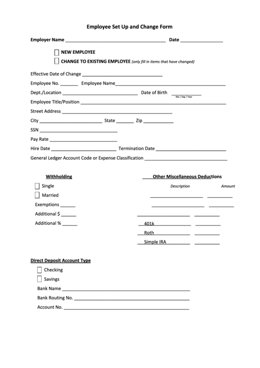 fillable employee set up and change form printable pdf