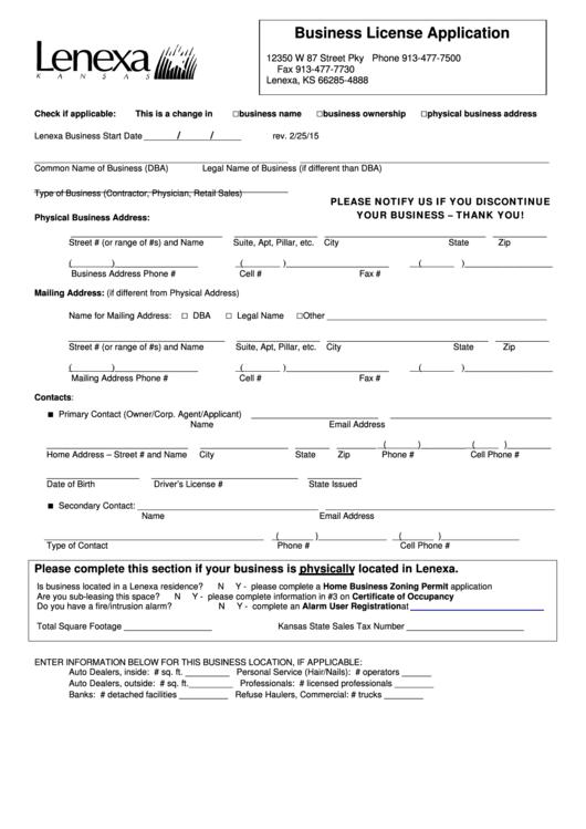 Business License Application Form Printable pdf