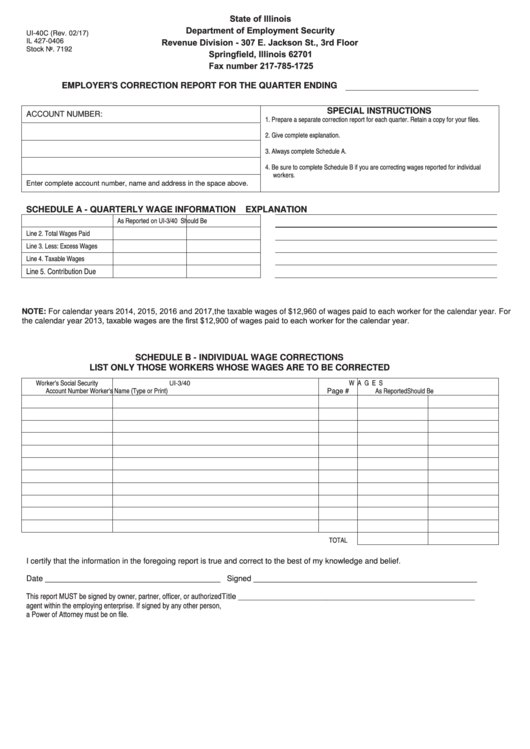 Form Ui-40c - Employer's Correction Report For The Quarter Ending