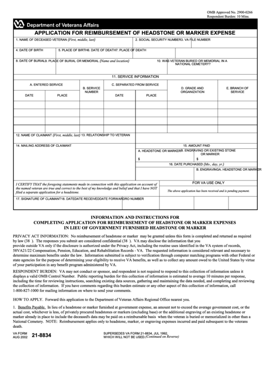 Fillable Va Form 21 8834 Application For Reimbursement Of