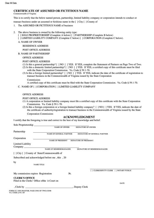certificate assumed fictitious cc 1050 template printable pdf