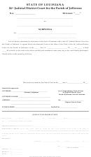 Subpoena Form - State Of Louisiana