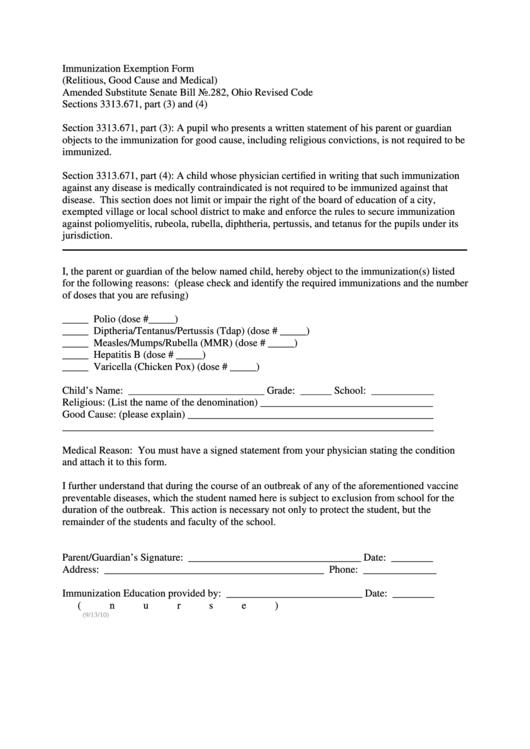 immunization exemption form printable pdf download