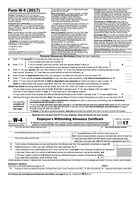Form W-4 - Employee's Withholding Allowance Certificate - 2017