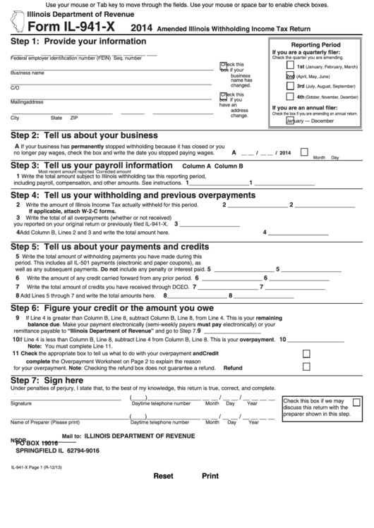 Fillable Form Il-941-X - Amended Illinois Withholding Income