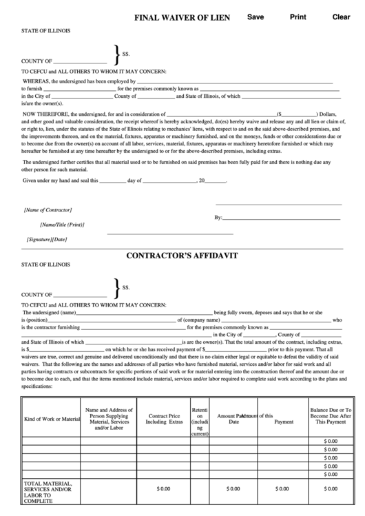 Fillable Final Waiver Of Lien Form State Of Illinois Printable Pdf