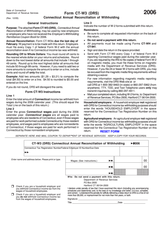 Fillable Form Ct-W3 (Drs) - Connecticut Annual ...