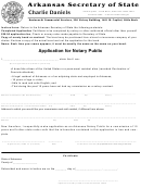 Application For Notary Public Form - Arkansas Secretary Of State