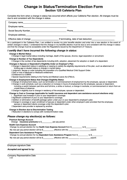 Change in status termination election form printable pdf for Section 125 plan document template