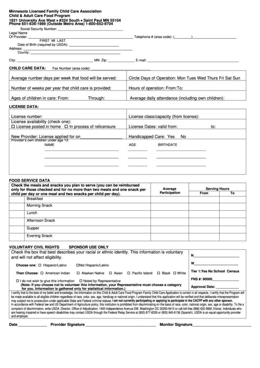 program plan template for child care - child adult care food program form printable pdf download