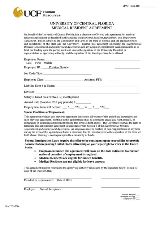 Fillable Ucf Medical Resident Agreement Form Printable pdf