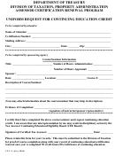 Form Ceu-3 - Uniform Request For Continuing Education Credit Form 2000