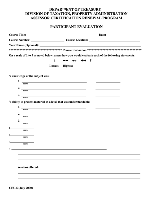 Form Ceu 5 Participant Evaluation Form Printable Pdf