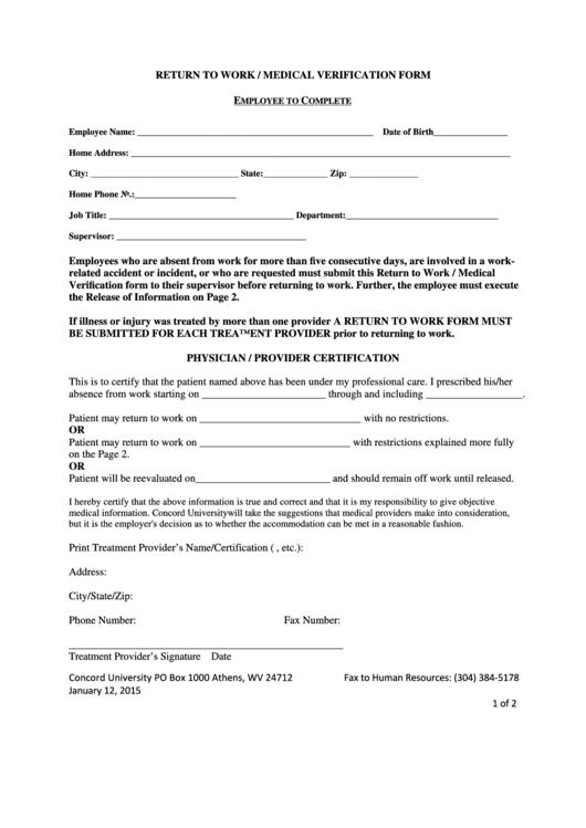 Return To Work-medical Verification Form