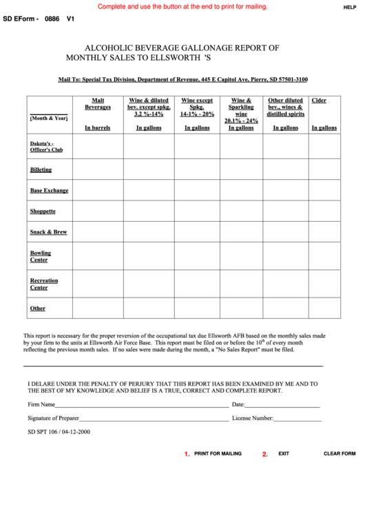 Fillable Sd Eform 0886 - Alcoholic Beverage Gallonage Report Of Monthly Sales To Ellsworth A.f.b. Military Mess
